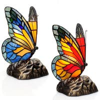 River of Goods 8-inch Tiffany Style Stained Glass Butterfly Touch Accent Lamps