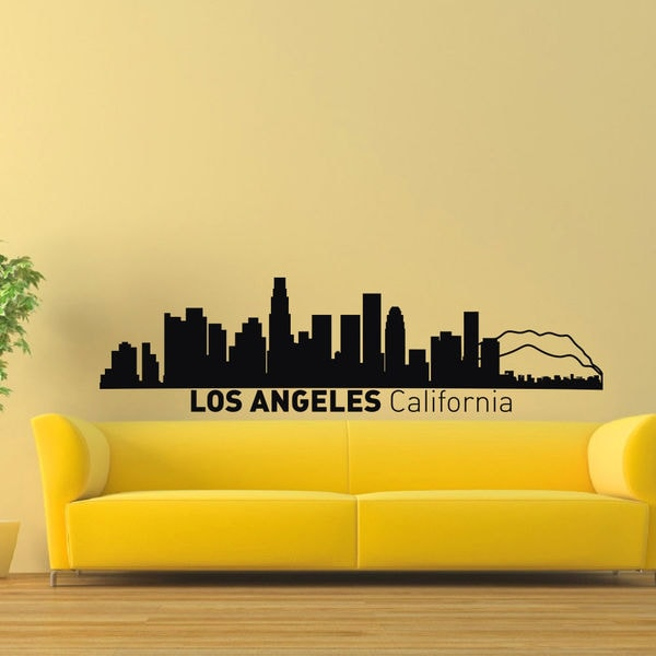 Los Angeles Skyline City Silhouette Vinyl Wall Art Decal Sticker ...