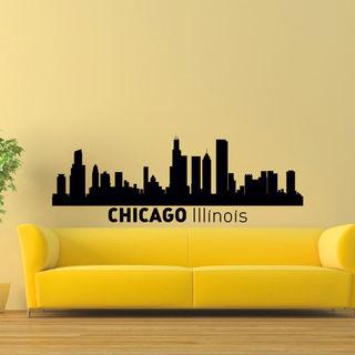 Chicago Illinois Skyline City Silhouette Vinyl Wall Art Decal Sticker