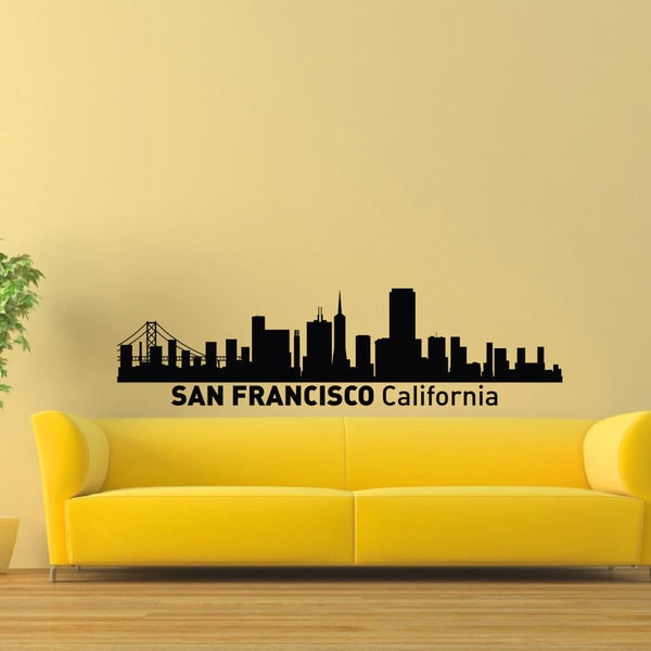 San Francisco Ny Skyline City Silhouette Vinyl Wall Art Decal ...