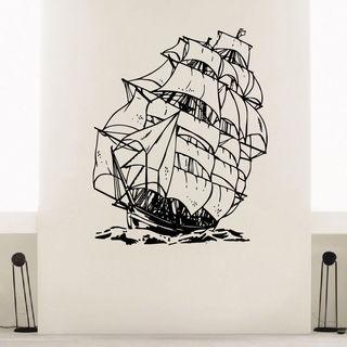 Sail Ship Waves Ocean Nursery Boys Room Vinyl Wall Art Decal Sticker
