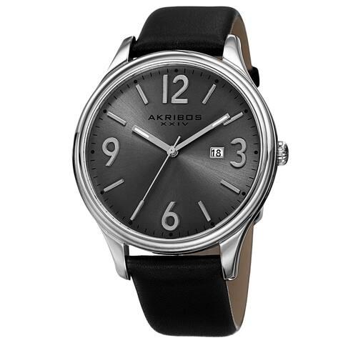 Akribos XXIV Men's Quartz Date Aperture Leather Silver-Tone Strap Watch - silver