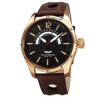 Akribos XXIV Men's Retrograde Multifunction Leather Gold-tone Strap Watch