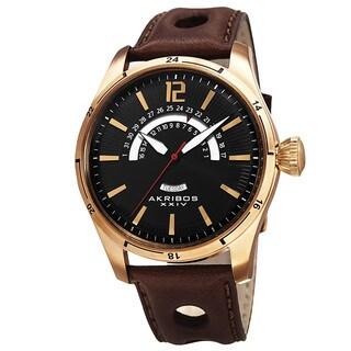 Akribos XXIV Men's Retrograde Multifunction Leather Gold-tone Strap Watch - GOLD