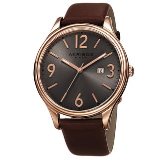 Akribos XXIV Men's Quartz Date Aperture Leather Rose-Tone Strap Watch