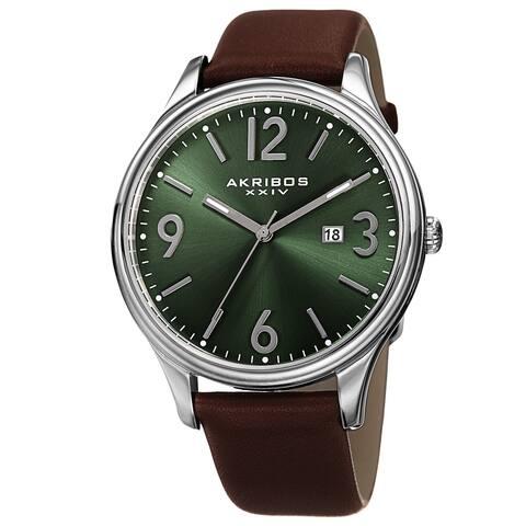 Akribos XXIV Men's Quartz Date Aperture Leather Green Strap Watch