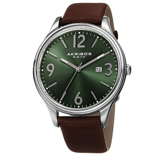 Akribos XXIV Men's Quartz Date Aperture Leather Green Strap Watch