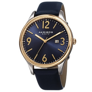 Akribos XXIV Men's Quartz Date Aperture Leather Blue Strap Watch with Gift Box