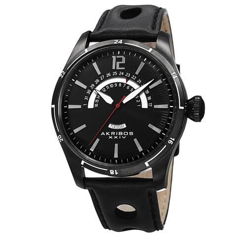 Akribos XXIV Men's Retrograde Multifunction Leather Black Strap Watch