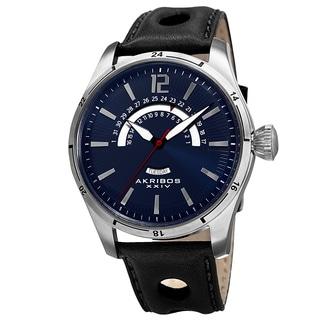 Akribos XXIV Men's Retrograde Multifunction Leather Blue Strap Watch