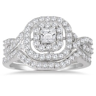 Marquee Jewels 10k White Gold 1ct TDW Diamond Double Halo Princess Bridal Ring Set (3 options available)