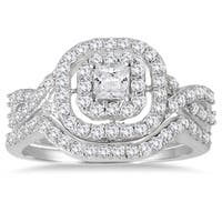 Marquee Jewels 10k White Gold 1ct TDW Diamond Double Halo Princess Bridal Ring Set