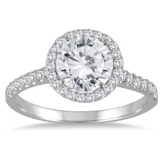 Marquee Jewels 14k White Gold 2ct TDW Halo Diamond Engagement Ring