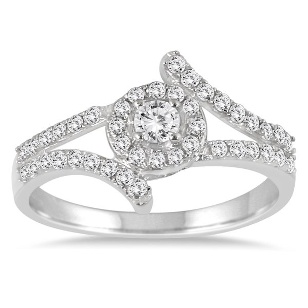 Marquee Jewels 10k White Gold 1/2ct TDW Diamond Split Shank Halo Engagement Ring