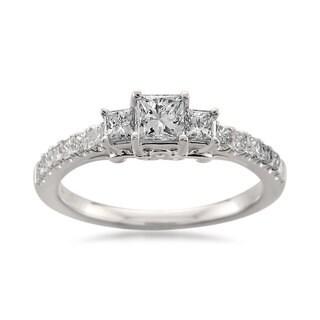 Montebello 14k White Gold 7/8ct TDW Princess-cut Diamond 3-Stone Ring (H-I, I1)
