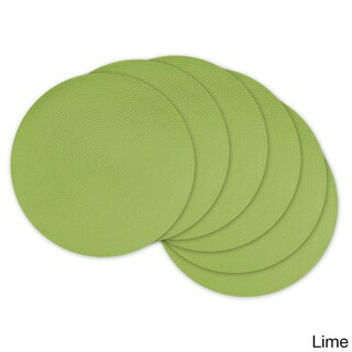 Design Imports Synthetic Fiber 14.75-inch Indoor/Outdoor Round Woven Placemats (Set of 6) (Option: Green)