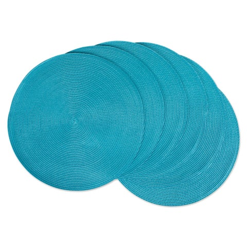 Design Imports Synthetic Fiber 14.75-inch Indoor/Outdoor Round Woven Placemats (Set of 6)