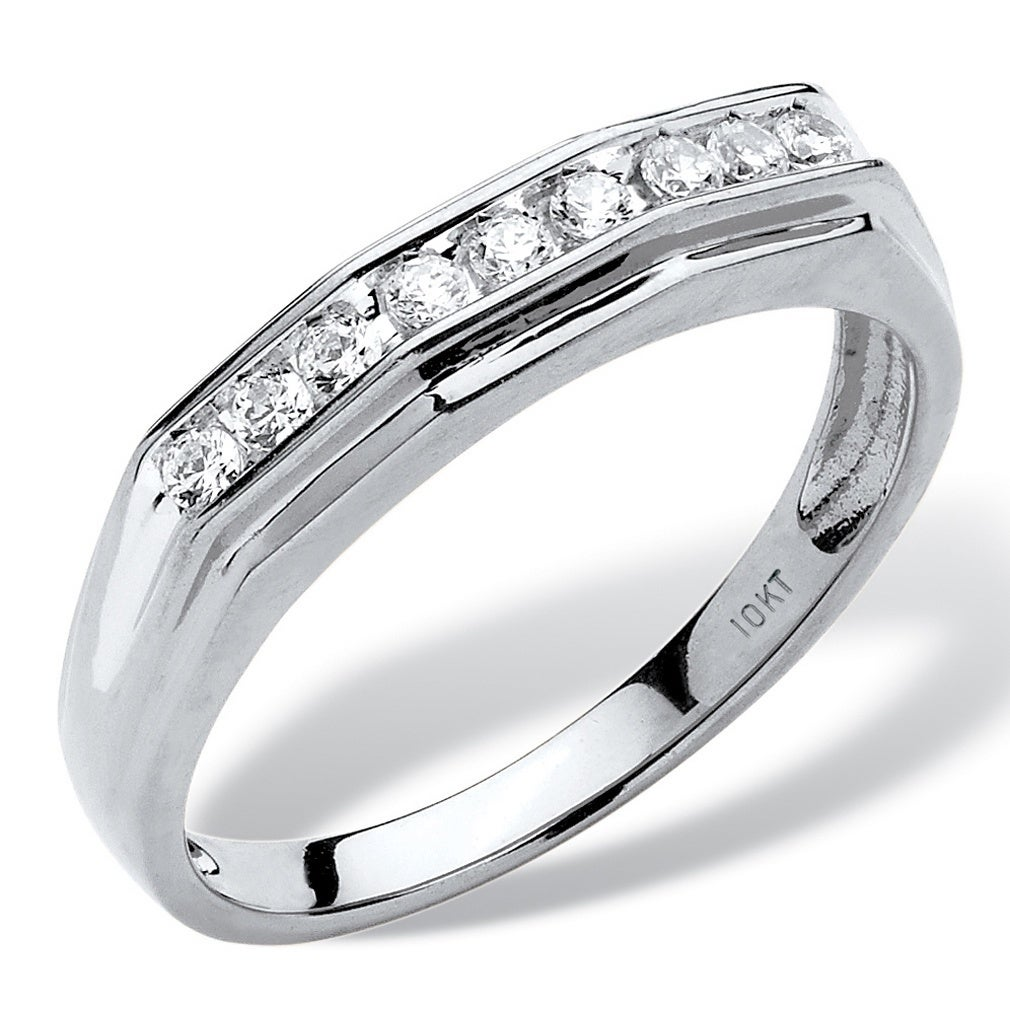 G-H,I2-I3 1//10 cttw, Size-7 Diamond Wedding Band in 10K White Gold