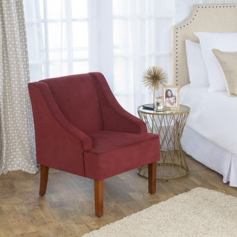 HomePop Swoop Arm Accent Chair in Berry Merlot Velvet