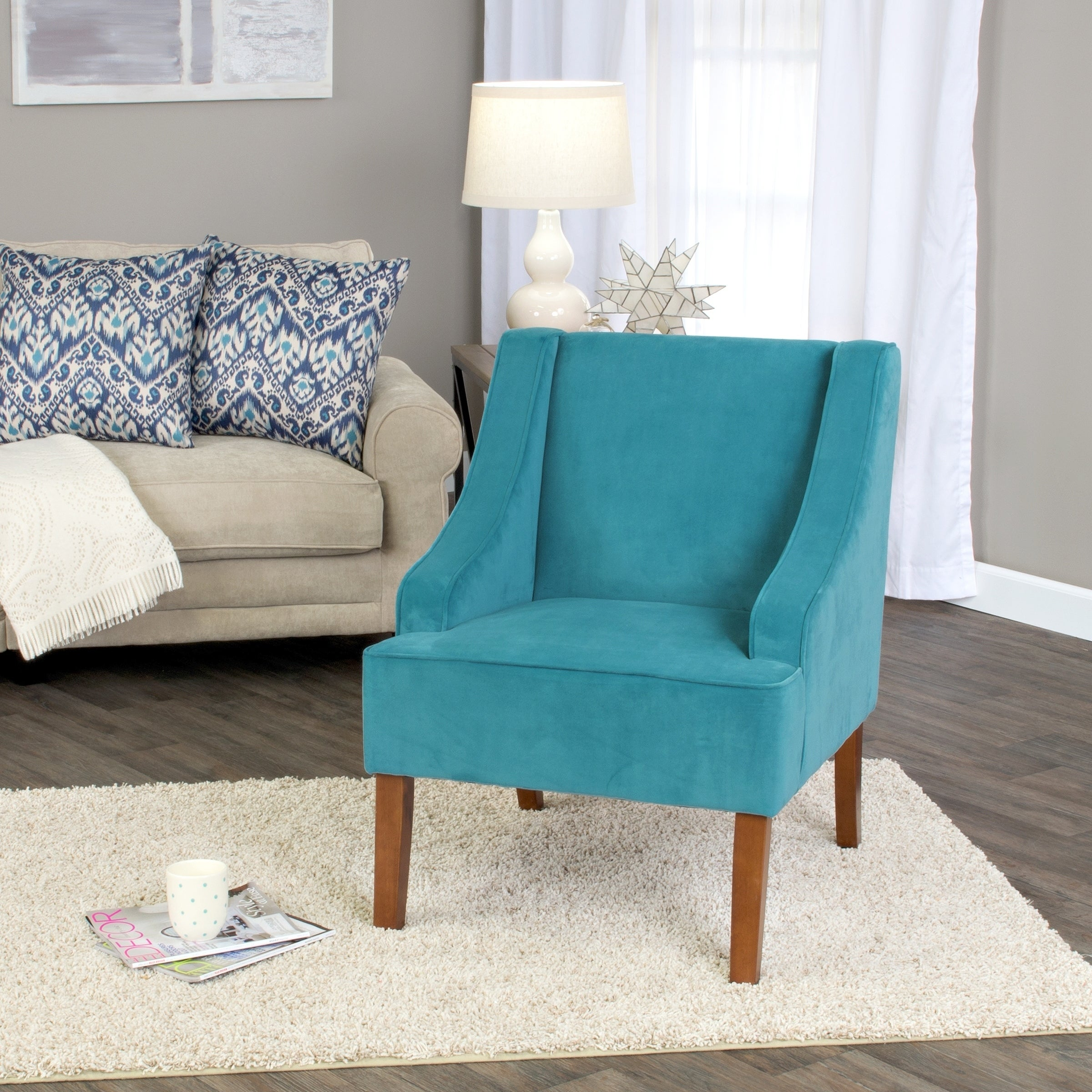 Contemporary Teal Or Turquoise Accent Chair: HomePop Swoop Arm Accent Chair In Teal (Turquoise) Velvet