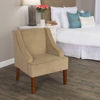 HomePop Swoop Arm Accent Chair in Tan Mocha Velvet