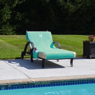 Turkish Cotton Monogrammed Aqua Towel Cover for Standard Size Chaise Lounge Chair with Side Pocket