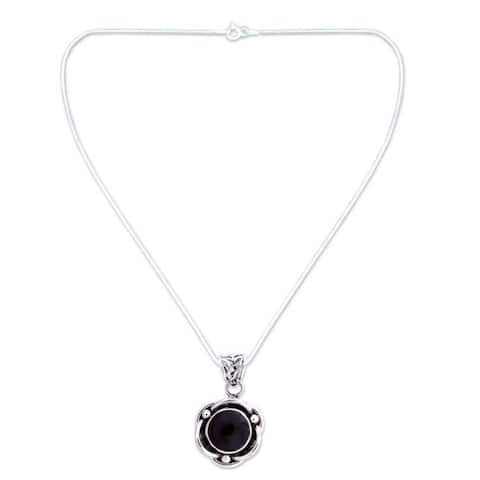 Handmade Sterling Silver Black Rose Onyx Necklace (India)