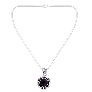Handmade Sterling Silver 'Black Rose' Onyx Necklace (India)