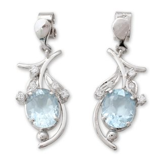 Sterling Silver 'Scintillating Bouquet' Blue Topaz Earrings (India)