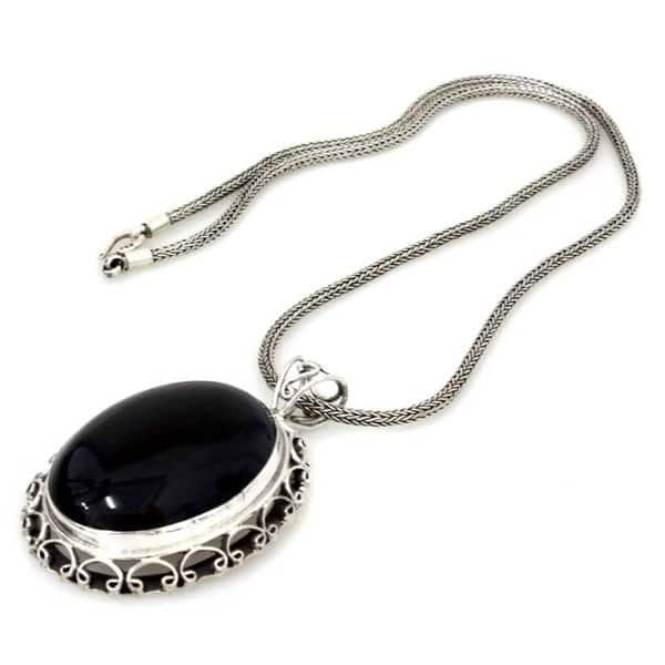 925 Sterling Silver Handmade Designer Charm Pendant Jewelry Length 1.5 ap3017 Natural Black Onyx Oval Shape Gemstone Amazing Pendant