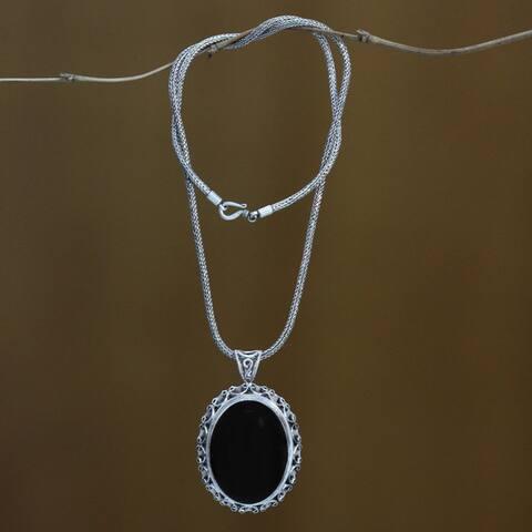 NOVICA Midnight Lace Handmade Artisan Fashion Accessory Sterling Silver Onyx Gemstone Oval Black Jewelry Pendant Necklace