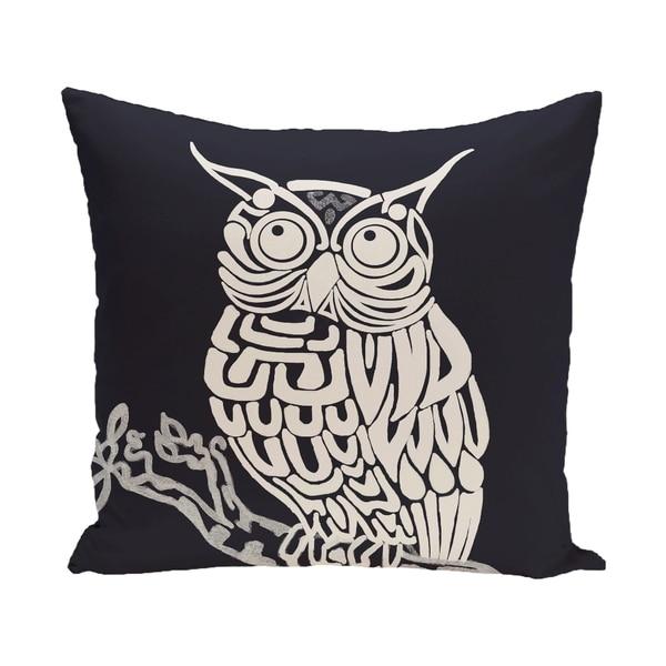 20 x 20-inch Blue, Grey Hootie Animal Print Pillow