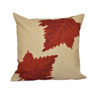 18 x 18-inch White, Yellow, Brown Dancing Leaves Floral Print Pillow