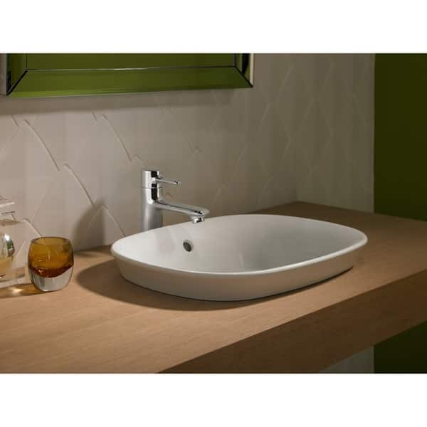 Toto Maris Oval Semi Recessed Vessel Bathroom Sink With Cefiontect Cotton White Lt480g 01 Overstock 10508313