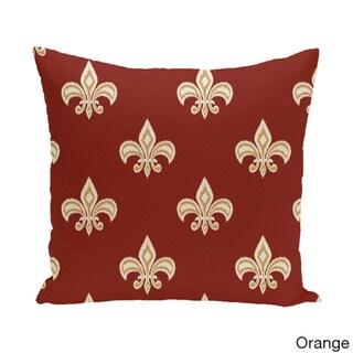 18 x 18-inch Fleur de Lis Ikat Print Pillow (Orange)