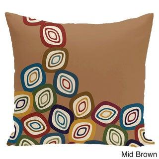 18 x 18-inch Falling Leaves Geometric Print Pillow (Mid Brown)