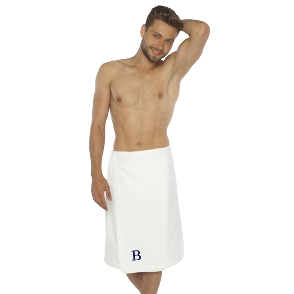 Authentic Hotel and Spa Turkish Cotton Terry Monogrammed White Men's Spa and Shower Towel Wrap