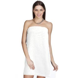 Authentic Hotel and Spa Turkish Cotton Terry White Women's Spa and Shower Towel Wrap