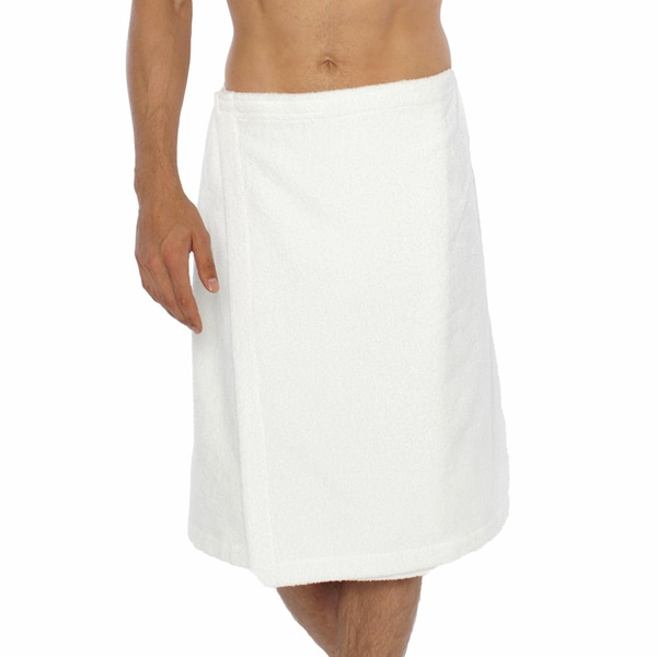 Turkish cotton terry white men 39 s spa and shower towel wrap - Bath wraps bathroom remodeling reviews ...