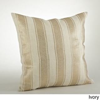 Striped Foil Burlap 20-inch Throw Pillow
