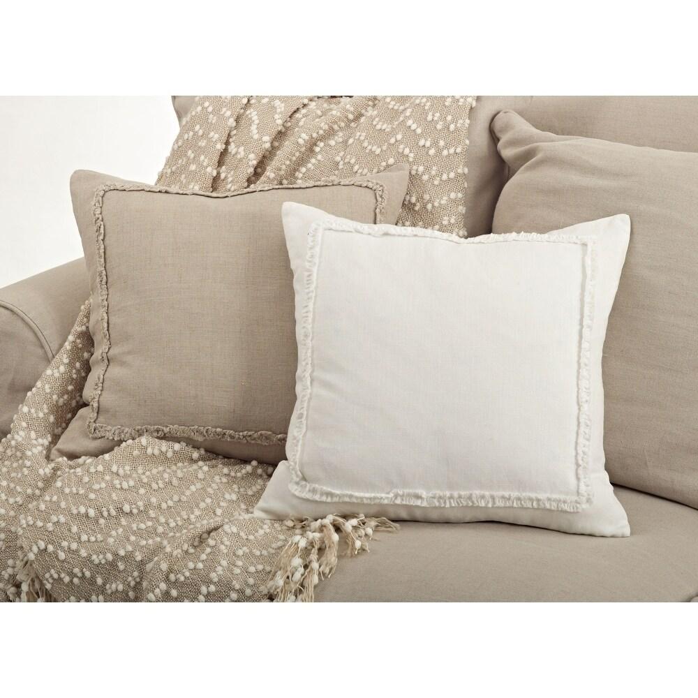 Shop Linen Ruffled Design 20-inch Throw Pillow - 10508477