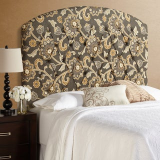 Humble + Haute Halifax Tall Grey Floral Curved Upholstered Headboard