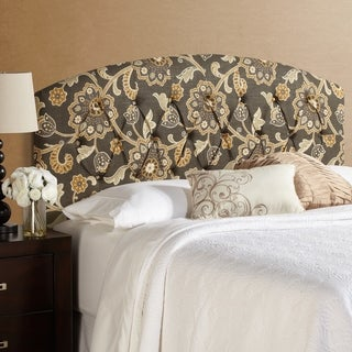 Humble + Haute Halifax King Size Grey Floral Curved Upholstered Headboard