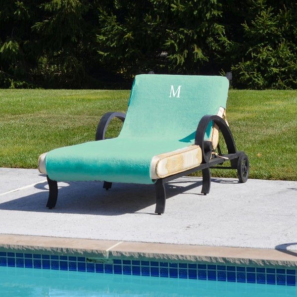 Authentic turkish cotton monogrammed aqua green towel for Chaise lounge covers cotton
