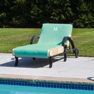 Authentic Turkish Cotton Monogrammed Aqua Green Towel Cover for Standard Size Chaise Lounge Chair (More options available)