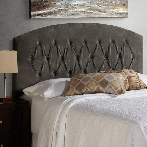 humble haute halifax king size grey velvet curved upholstered headboard free shipping today. Black Bedroom Furniture Sets. Home Design Ideas