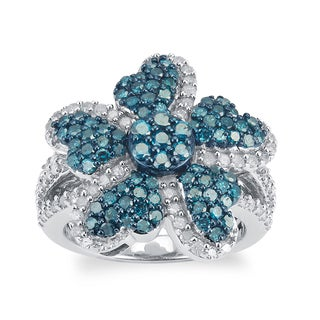 Sterling Silver 1.50ct TDW Blue and White Diamond Flower Ring