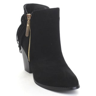 Bella Marie Kenzie-27 Women's Delicate Zip Up Fringe Mid Stacked Ankle Booties