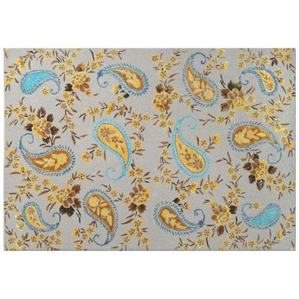 Paisley Tan Gold/Wool Tufted Rug (5x8)