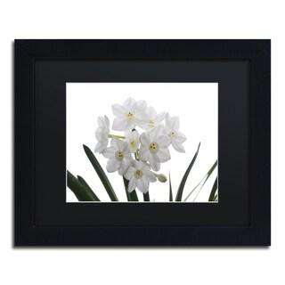 Kurt Shaffer 'Paper White Bouquet' Black Matte, Black Framed Wall Art
